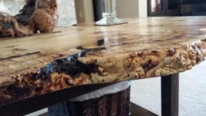 Live Edge table closeup