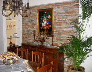 image of dining room with plant