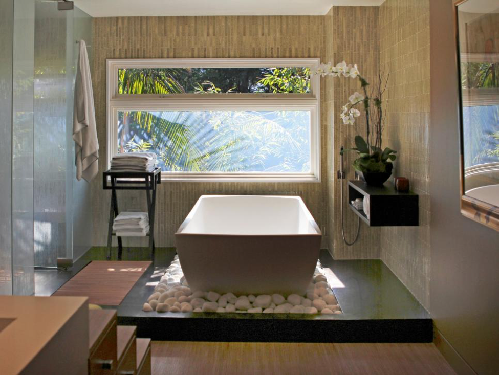 Modern Bathroom with Tub and Stones