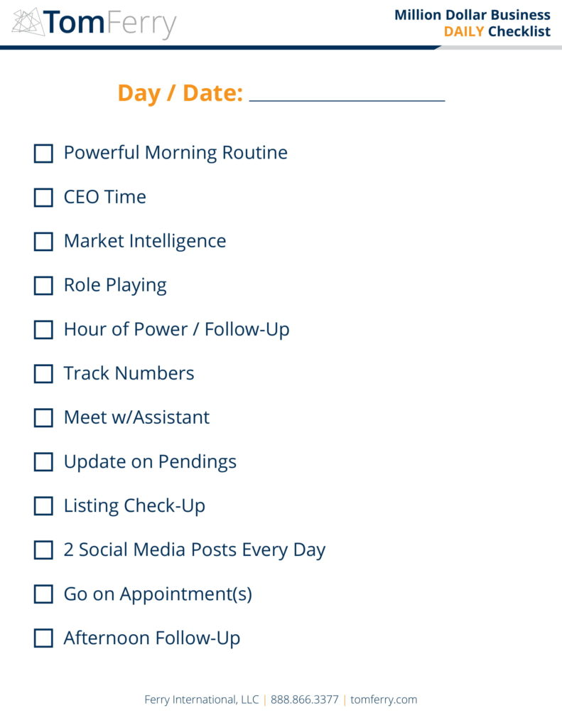 Tom Ferry Daily Checklist