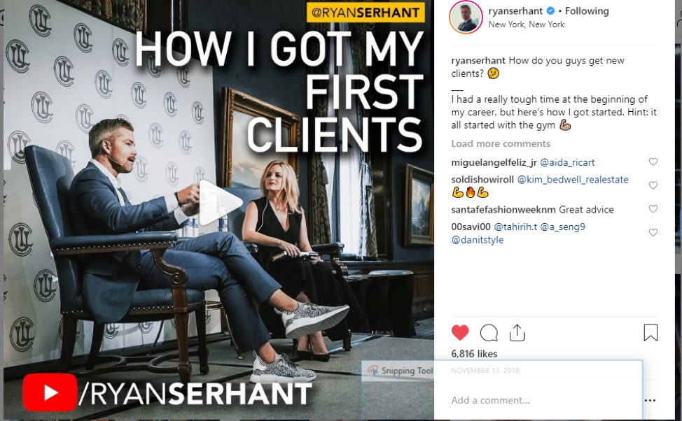 ryan serhant real estate agent on instagram
