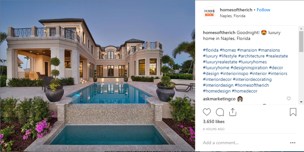 real estate listing of luxury home with use of hashtags