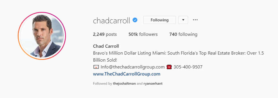 bio of real estate agent Chad Carroll